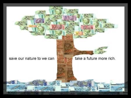 Economize nosso meio ambiente para termos um futuro rico de tudo